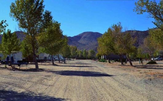 A gravel road in the Stagecoach Trails RV Park
