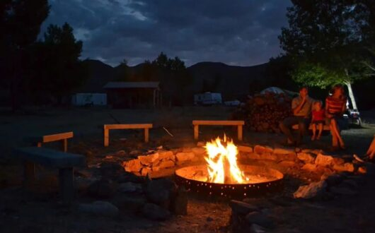 The large group fire pit at night