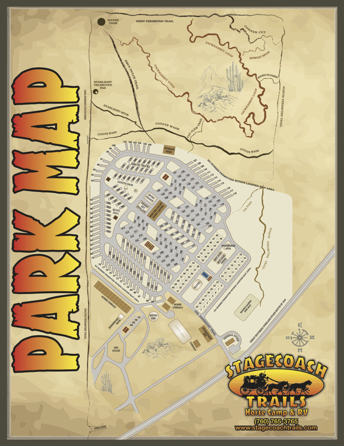 A detailed park map of Stagecoach Trails Campground that includes campsite numbers and building placements