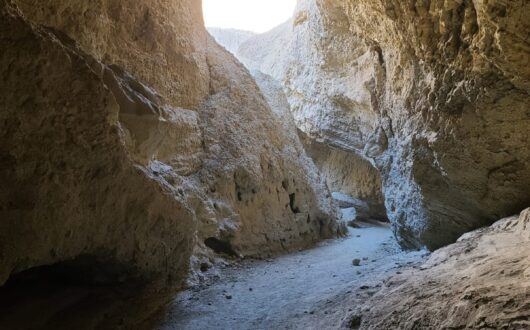 A picture of a mud cave in Anza Borrego. Sunlight streams through an opening in the cave